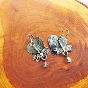 DRAGONFLY Marble Heart Dangling Silver Earrings